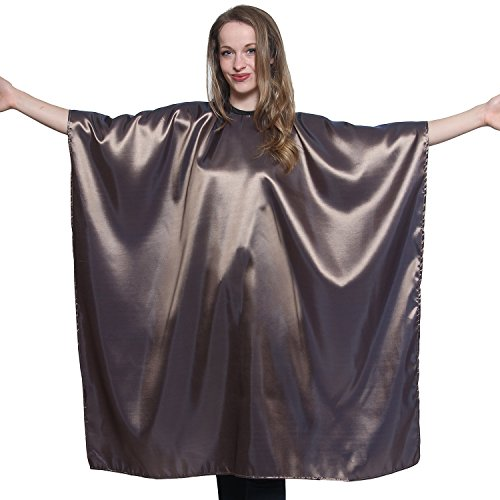 Bronze Iridescent Salon Cape with snaps Professional Quality 45 inch X 60 inch Heavy Duty Material Extra Long Durability For Barbershop and Beauty Shop Use Long Lasting and Specialized (BRONZE)