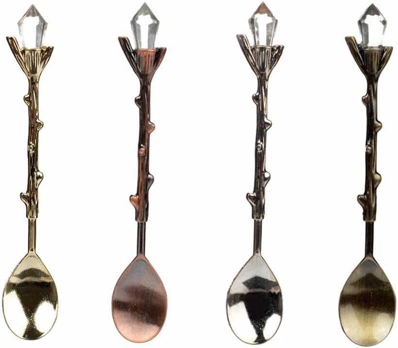 ISKYBOB Set of 4 Retro Coffee Tea Mini Ice Cream Dessert Crystal Spoon Scoop,4.6 Inch Long