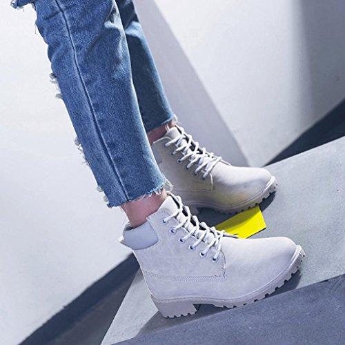 TPulling Herbst Und Winter Schuhe Mode Damen Freizeitstiefel Lässige Martin Stiefel Grau