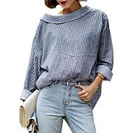 IEason Women Shirt 2017 Hot Sale! 1PC Fall Fashion Women Blue Striped Long Sleeved Shirt