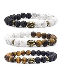 Bivei Natural Lava Stone/White Turquoise/Tiger Eye Stone Essential Oil Diffuser Bracelet - Silver/Bronze Buddha Head Buddhist Prayer Beads Mala Meditation Protection Healing Jewelry