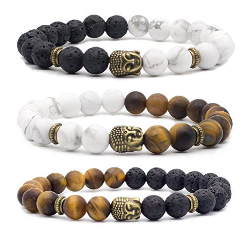 Bivei Natural Lava Stone/White Turquoise/Tiger Eye Stone Essential Oil Diffuser Bracelet - Bronze Buddha Head Buddhist Prayer Beads Mala Meditation Protection Healing Jewelry?Setof 3 -