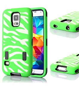 Amcctvshop New Premium Zebra Pattern Armor Case Cover for Samsung Galaxy S5 I9600 (Green)