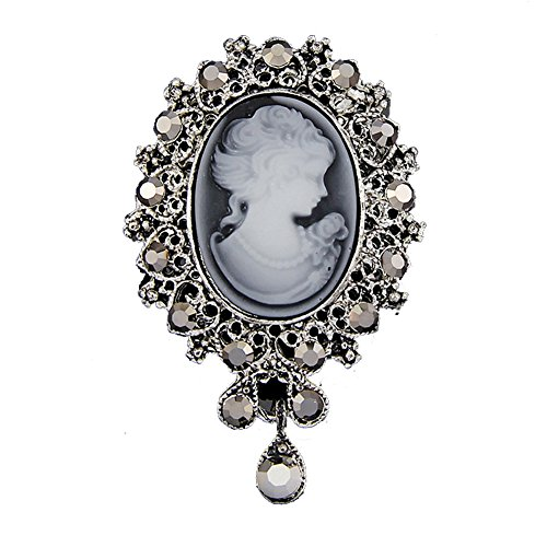 Vintage Rhinestone Cameo Brooch For Women Black Crystal Beauty Picture Alloy RareLove