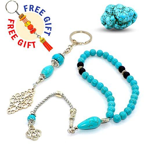 Elegant Turquoise Stone Prayer Beads and Keychain (8 mm, 33 Beads) Sibha - Tesbih - Tasbih - Misbaha - Dhikr Beads - Rosary - (Free Gift)