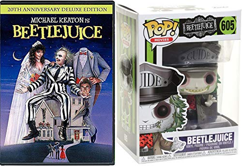 Stay-at-home ghosts Beetlejuice Pop Figure & DVD Movie Tim Burton with TV episodes Animated Spooky Boo-Tique! Creepy family Fright Fun Collectible Vinyl character Pack (Tim Vinyl Burton Figure)