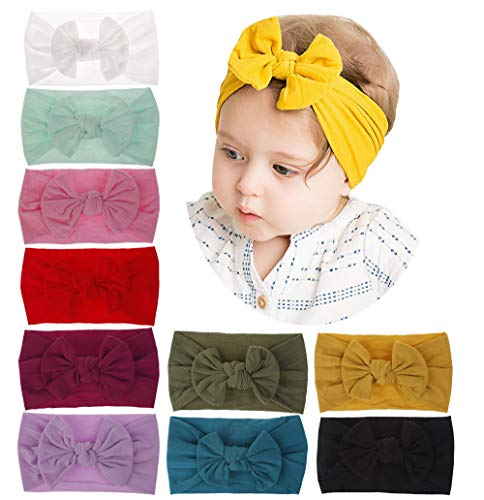 inSowni Newest Super Stretchy Nylon Bow Flower Turban Headbands Hairbands Headwraps for Baby Girl Toddlers Infants Newborns (10 Pack S2) (Best Bow Accessories 2019)