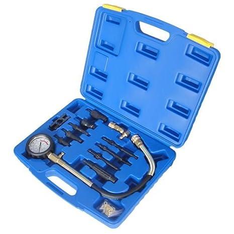 lincos - Juego de comprobador de compresión, con adaptadores para inyector diésel, Bujía: Amazon.es: Coche y moto
