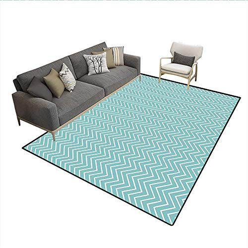 Carpet,Ocean Sea Wave Like Zig Zag Lines for Minimalist Kitchen Teen Living Room,Print Area Rug,Mint Green and White 6'6