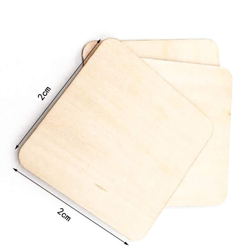 Quadratische Holzchips DIY nat/ürliche unfertige Holzst/ücke Malerei Board Blank Holz Square Plaque Holz Ausschnitt rustikale Bastelbedarf