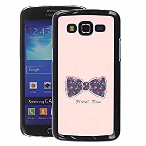 A-type Arte & diseño plástico duro Fundas Cover Cubre Hard Case Cover para Samsung Galaxy Grand 2 (Bowtie Bow Pink Text Floral Baby Purple)