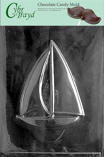 Cybrtrayd N023 Large Sailboat Chocolate Candy Mold with Exclusive Cybrtrayd Copyrighted Chocolate Molding Instructions