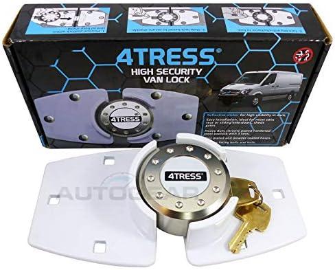 4Tress WHITE High Security Anti Theft Van Rear Or Side Door Home Garage Shed Door Lock Hasp Padlock