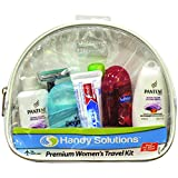 Premium Women's 7-Piece Travel Size Kit includes Twin Blade, Toothbrush, Pantene Shampoo, Conditioner, Degree Antiperspirant, Toothpaste, Softsoap Body Wash (TSA Compliant)
