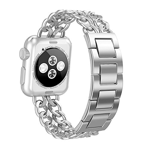 AmzAokay Replacement Bands Compatible for Apple Watch 38mm 42mm Stainless Steel Metal Cowboy Chain Strap Wrist Band for Apple Watch 40mm 44mm Series 4 3 2 1 Sport and Edition (Silver-1, 38mm/40mm)