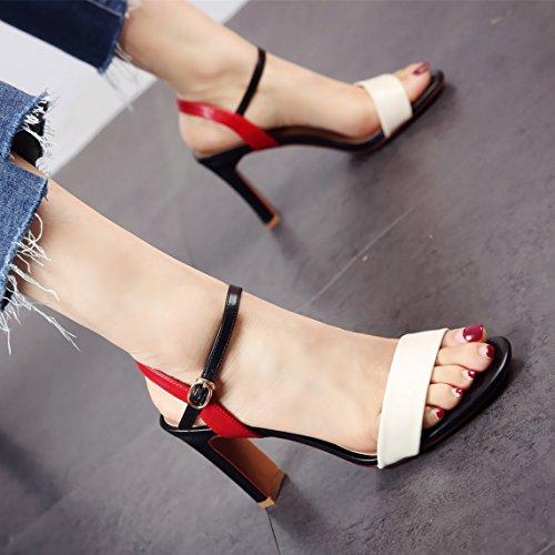 e a sandali ed Signora comfort tacchi primavera estate caviglia alti ruvida moda YMFIE nB7OTcxx