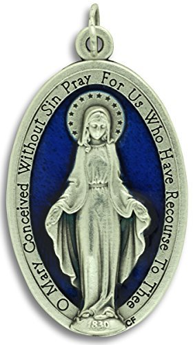 Lot of 3 - Large Blue Enamel Miraculous Medal 1-3/4