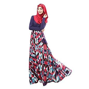 Weixinbuy Islamic Muslim Abaya Women Floral Maxi Partywear Dresses