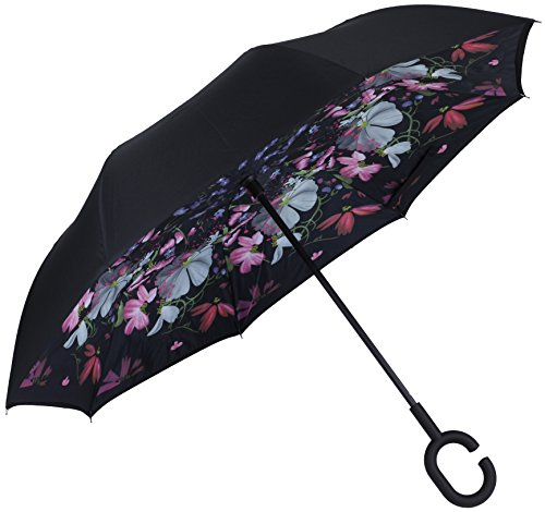 ella - Reverse Folding Inside Out Upside Down Umbrella - Rain Unbreakable Windproof Umbrella - UV Protection - Exotic Floral (Marina Floral Top)