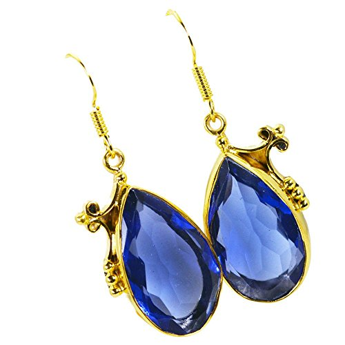 - Jewelryonclick Gold Plated Pear Blue Sapphire CZ Earring For Women With Bezel Style Indian Jewelry Gift