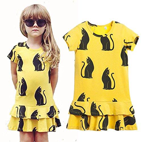 Chinatera Kids Little Girls' Cute Cat Cotton Princess Tutu Dress (120:115-125cm for 6-7Y) (Cat Tutu)