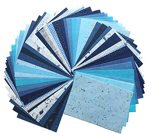 RATREE SHOP 60 Sheets Mixed Blue 8.5x12 Inches Mulberry Paper Sheet Design Craft Hand Made Art Tissue Japan Origami Washi Wholesale Bulk Sale Unryu Suppliers Thailand Products Card Making (N003)