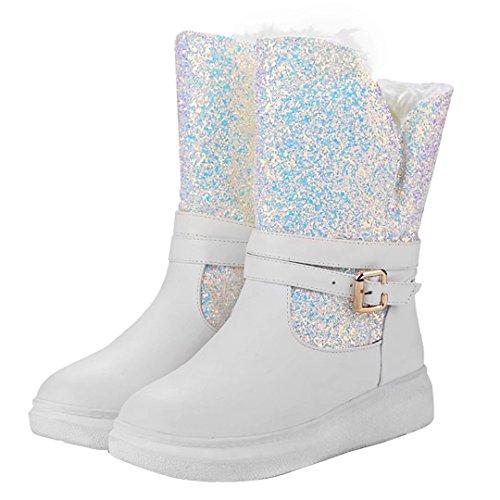 AIYOUMEI Damen Flach Stiefeletten mit Glitzer und Plateau Schnalle Bequem Winter Warm Schneestiefel Weiß