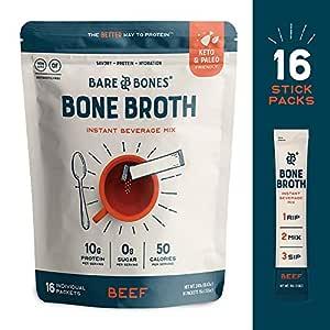 Bare Bones Bone Broth Instant Powdered Beverage Mix, Beef, 10g Protein, Keto & Paleo Friendly, 0.53oz, Pack of 16 Servings