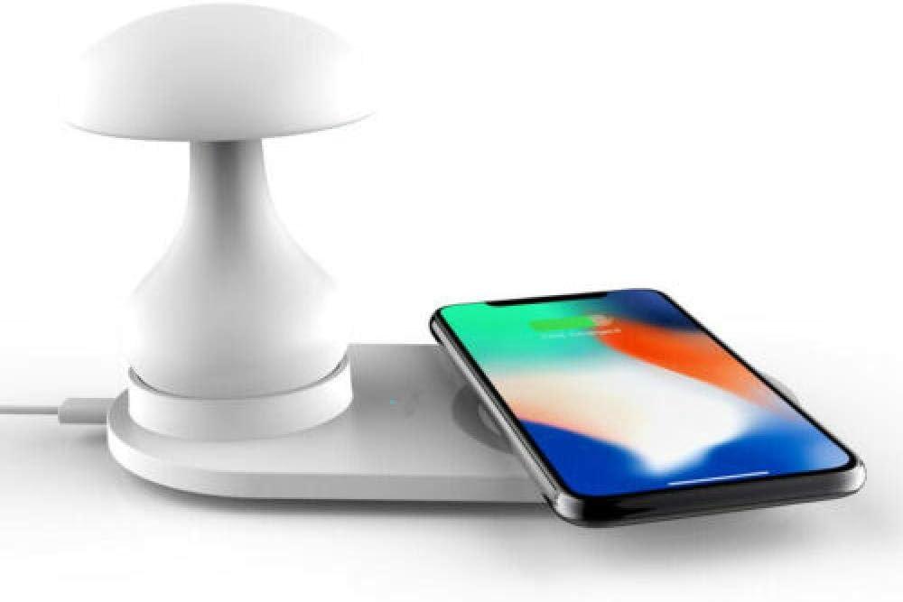 3in 1 mesa de la lámpara del escritorio de la carga LED del USB inalámbrico + cargador inalámbrico del teléfono de QI@Para iPhone 6s Plus_blanco