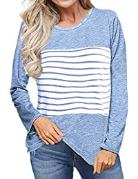 Women's Short and Long Sleeve T Shirts Color Block Striped Tops Blouses