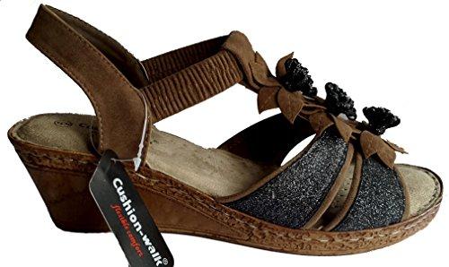 en de sin comodidad mujer cordones marrón Walk Sandalias para mayor para Cushion de Italia con plantilla acolchado cuña cuero gwCxanvpq