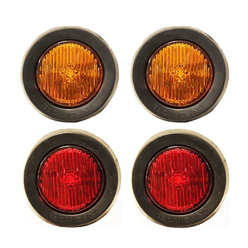 "2 Amber 2 Red LED 2"" Round Clearance/side Marker Light Kits with Light, Grommet and Wire Pigtail Truck Trailer Rv Pack of 4 Lifetime Warranty"