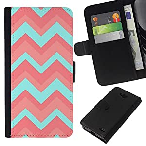 All Phone Most Case / Oferta Especial Cáscara Funda de cuero Monedero Cubierta de proteccion Caso / Wallet Case for LG OPTIMUS L90 // Teal Pattern Pink Clean Light