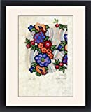 Framed Print of Design for Printed Textile with flowers
