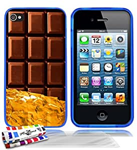 Carcasa flexible Ultrafina Azul Original de MUZZANO estampada Chocolate para APPLE IPHONE 4 + 3 películas de protección UltraClear para la pantalla