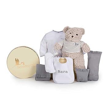 Canastilla regalo bebé Mi Babero Bordado- BebeDeParis- Gris- Cesta para bebés con babero personalizado con el nombre del bebé- regalo de nacimiento ideal: ...