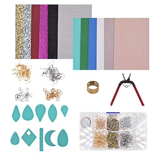 Healifty Earring Making Supplies Jewelry Making Kits Earring Hooks Earring Posts Double-Sided Leather for DIY Beginners ()