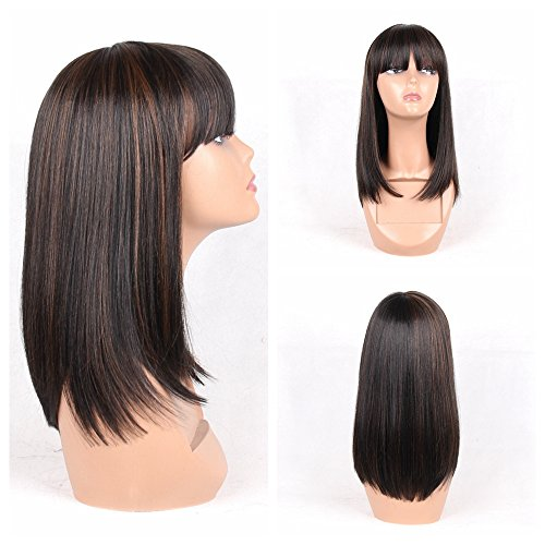 (HAIR WAY Straight Wigs with 20% Human Hair and 80% Premium Japanese Fiber Like Real Human Hair Wig for Black Women Synthetic Wigs Straight Hair with Bangs for Daily Wear)