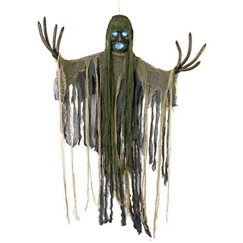 Halloween Haunters Hanging Scary Tree Reaper Zombie with Strobe Light Skull Prop Decoration - Branch Fingers - Battery Operated