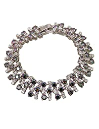 BMALL Luxury Sparkling Rainbow Mystic White Topaz Silver Filled Women'S Bracelets Bangles 18Cm 7.69 Inch B427
