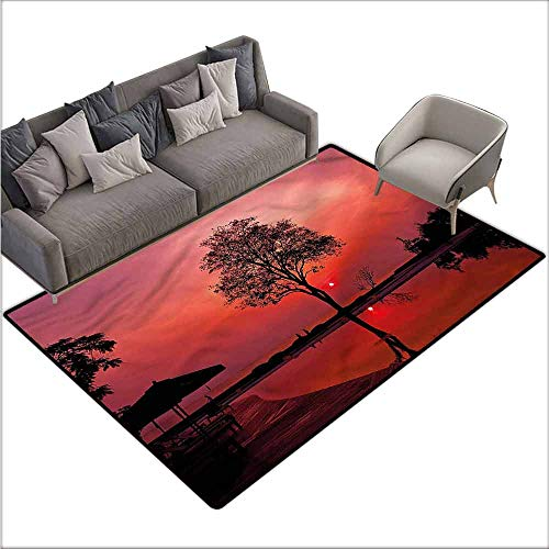 Large Floor Mats for Living Room Colorful Sunrise,Twilight Sky with Tree 80