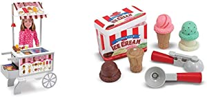 Melissa & Doug Wooden Snacks & Sweets Food Cart - The Original (Best for 3, 4, 5, 6, and 7 Year Olds) & Scoop & Stack Ice Cream Cone Magnetic Pretend Play Set (Best for 3, 4, and 5 Year Olds)