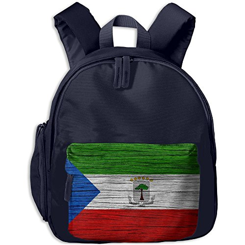 Flag Of Equatorial Guinea Wooden Texture Children Backpack Pocket Zipper Outdoor Travel School Book Bag ()