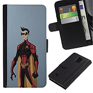 ZCell / Samsung Galaxy Note 4 IV / Superhero Costume Cape Cartoon Comic Robin / Caso Shell Armor Funda Case Cover Wallet / Superhéroe Traj