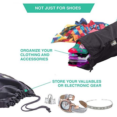 514qMjjPtML - Lewis N. Clark Drawstring Bag Nylon Shoe Covers for Travel, Women & Men, 2 pair, Charcoal/Black
