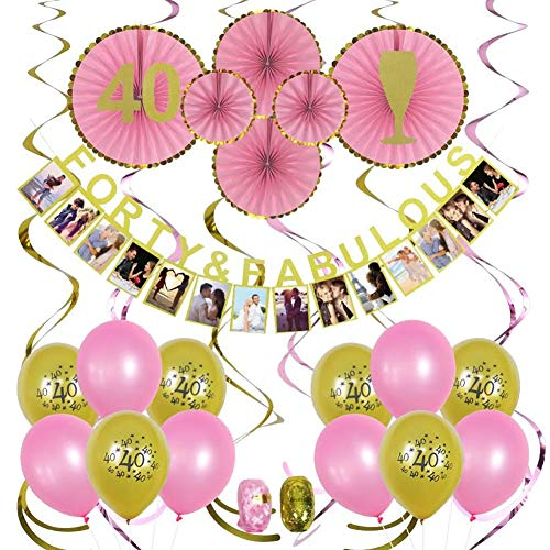 40th Birthday Decorations - 40 Birthday party decorations - 40th birthday gift ideas - 40 and fabulous - 40th birthday balloons