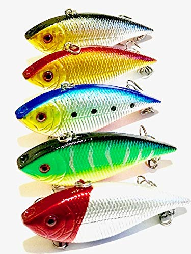 SFS Lipless Crankbaits for Bass Vibrate Rattle Fishing Lure 5 Lures in 1 Plastic Tackle Box