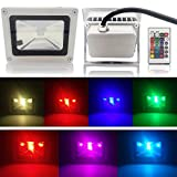 10w RGB FlatLED 16 Different Color Tones Waterproof LED Flood Light with a Remote Control