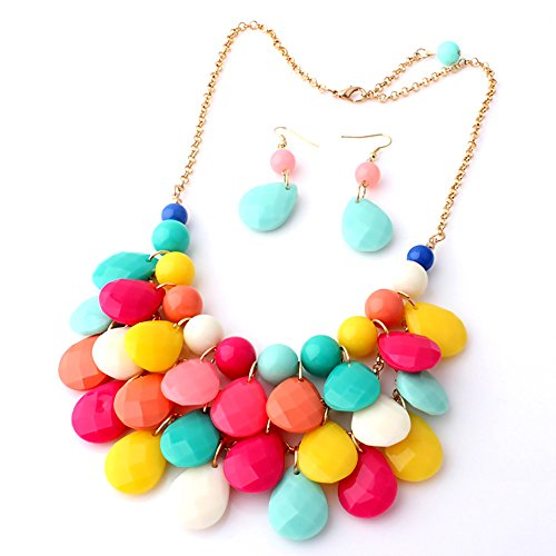 IebeautyFashion Jewelry Crystal Choker Chain Chunky Statement Necklace Bib Pendant (multi color)