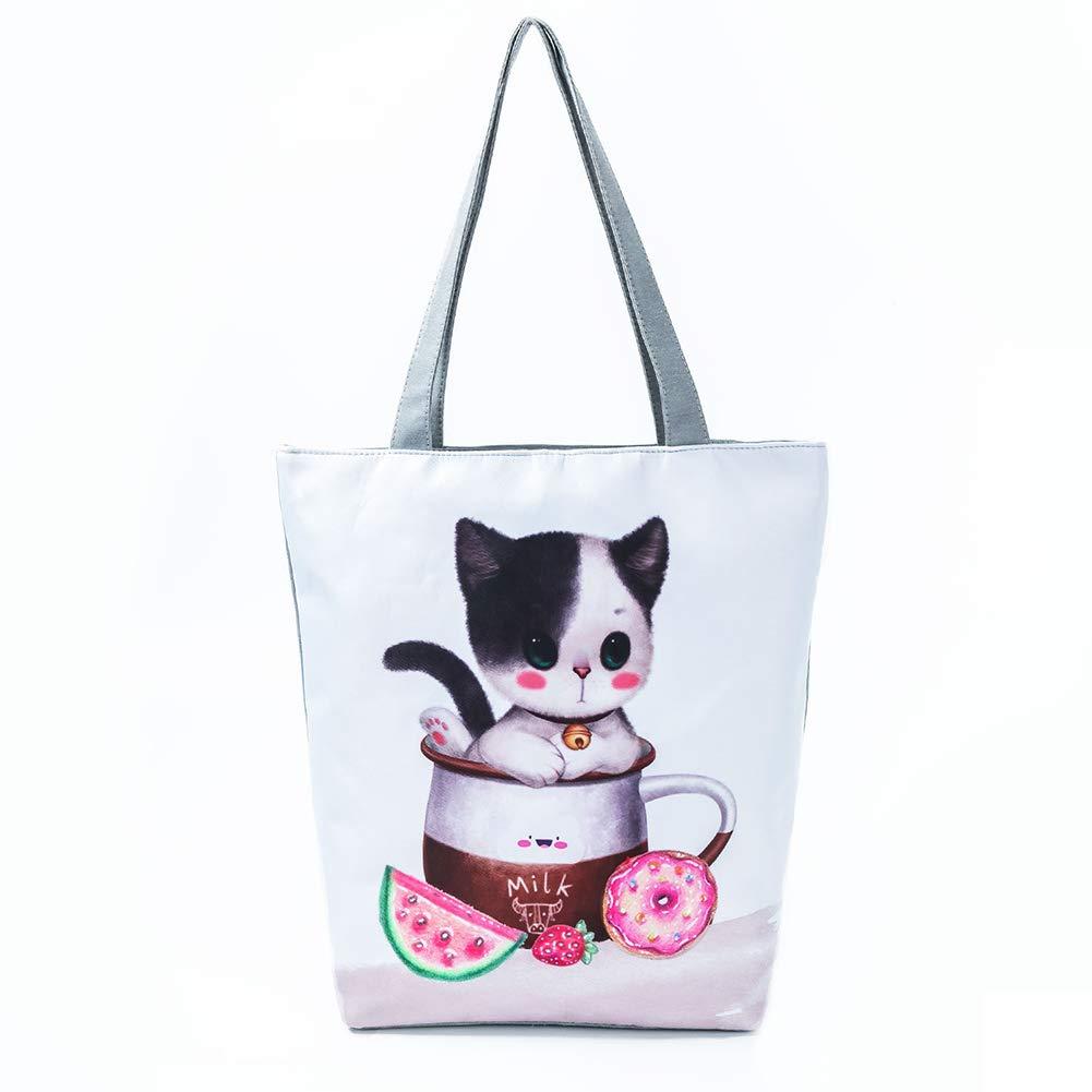 Doitsa Sacs Fourre-Tout Mode Cartoon Impression Grande Capacit/é Ordinateur Portable Sac /à Main Femme Bandouli/ère en Toile Animal Panda Style-1